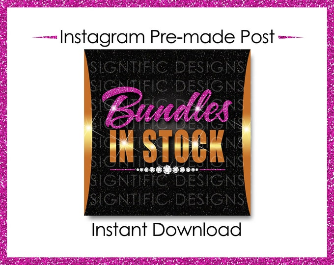 Instant Download, Hair Extensions Flyer, Bundles in Stock, Gold and Pink, Instagram Post, Instagram Caption, Instagram Flyer, IG Post Flyer
