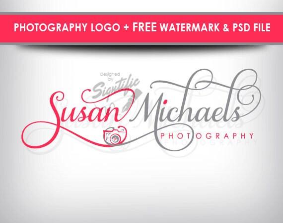 Custom photography logo, free watermark and PSD source file, custom photo signature, professional logo, orange and beige logo design