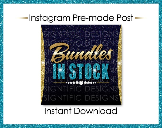 Instant Download, Hair Extensions Flyer, Bundles in Stock, Gold and Blue, Instagram Post, Instagram Caption, Instagram Flyer, IG Post Flyer