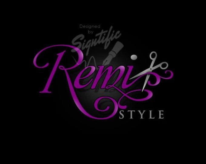Hair salon logo, scissors logo, hair logo design, professional hairdresser logo, purple and silver logo, hair dresser logo with scissors,