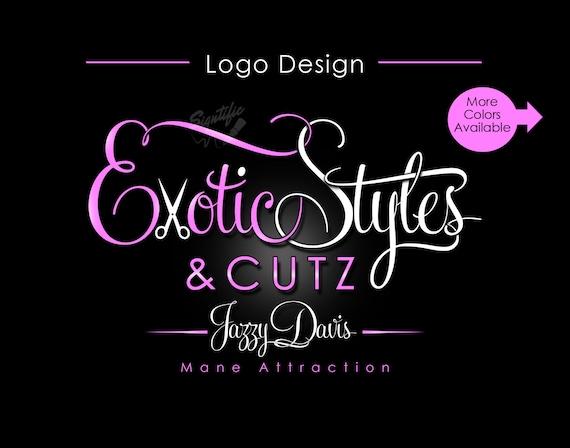Custom Hair Salon Logo, Hair Logo Design, Scissors Logo, Small Business Logo, Swirly Logo, Pink White Logo, Hair Business Logo, Website Logo