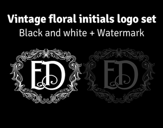 Vintage floral Monogram set, black and white wreath frame logo design plus watermark on transparent background for photography business
