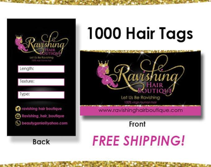 1000 Hair Tags, Hair Extension Cards, Hair Hang Tags, Virgin Hair Tags
