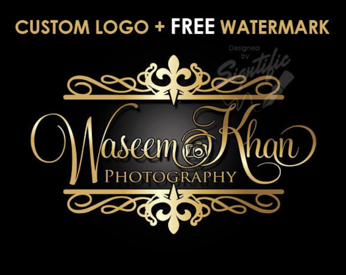 Photography Camera Logo, FREE watermark, Gold Frame and Lettering Logo for Photography, Name Signature Logo, Photographer Brand Logo Design