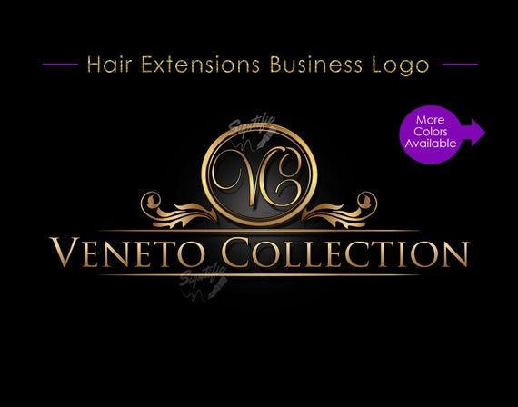 Hair Extensions Logo, Hair Collection Logo, Hair Business Logo, Gold Logo, Vintage Logo, Hair Packaging Logo, Ornament Logo, Hair Branding