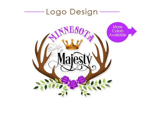 Custom Logo, Business Branding, Antlers Logo, Floral Logo, Business Logo, Crown Logo, Cursive Lettering, Colorful Logo, Colour Logo Design