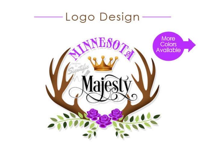 Custom Logo, Business Branding, Antlers Logo, Floral Logo, Business Logo, Crown Logo, Cursive Lettering, Colorful Logo, Colour Logo Design