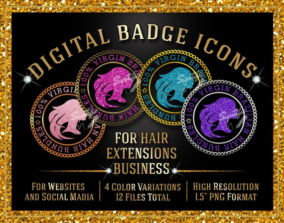 Hair Extensions Badge Icons Instant Download, 100% Virgin Brazilian Hair Bundles Badge Icons, Website Badge, Social Media Icons, Round Seal