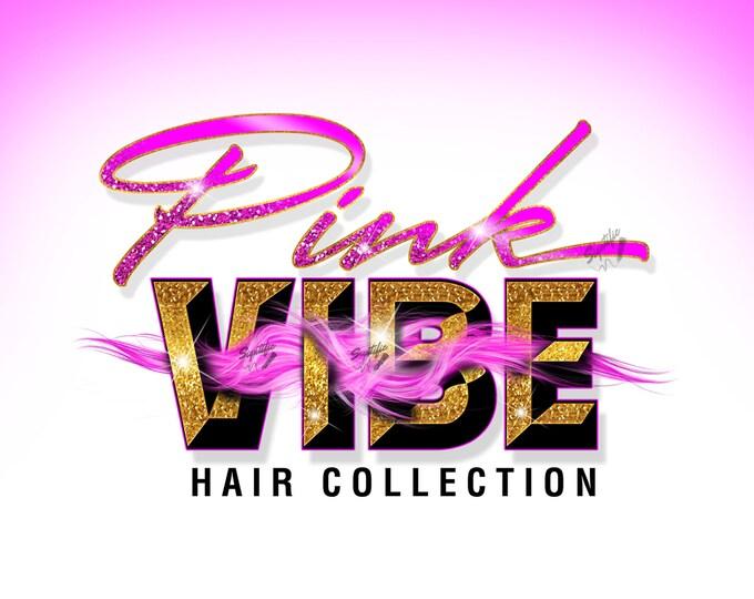 Hair Extensions Logo, 3D Logo, Hair Bundle Logo, Extension Logo, Hair Wrap Logo, Glitter Logo, Wig Logo, Pink Hair Logo, Hair Business Logo