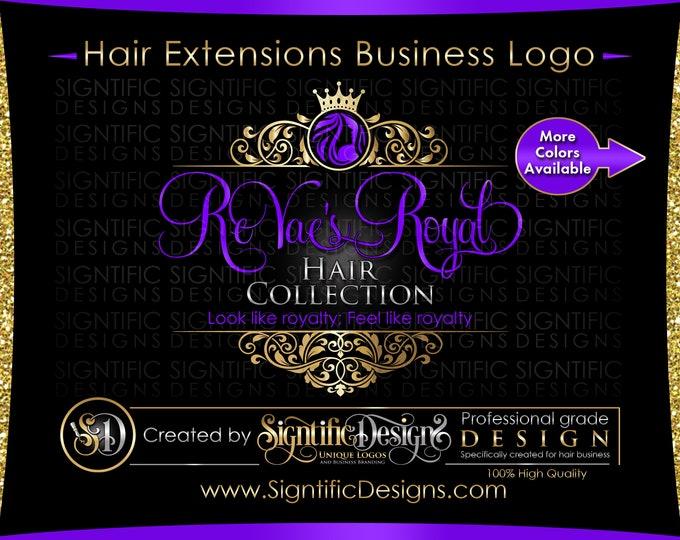 Hair Extension Logo, Hair Logo Design, Salon Logo, Hair Collection Logo, Gold and Purple Logo, Crown Logo, Vintage Frame, Virgin Hair Logo