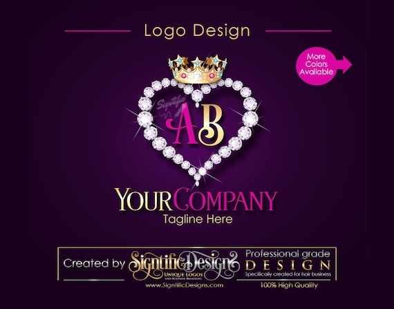 Business Diamond Heart Bling Crown Initials Logo, Company Logo, Hair Collection Logo, Hair Bundle Logo, Hair Business Logo, Hair Tag Logo