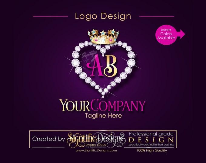 Business Diamond Heart Bling Crown Initials Logo, Company Logo, Hair Collection Logo, Hair Bundle Logo, Hair Business Logo, Hair Tag Logo