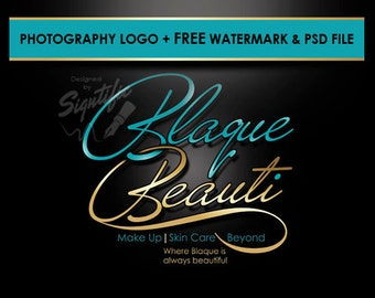 Beauty salon logo, FREE watermark and PSD source file, gold and teal makeup artistry logo, beauty shop logo, beautician logo in any colors
