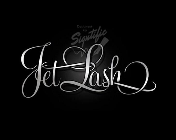 Elegant silver logo - FREE watermark, eyelash business logo, beauty salon logo design, business signature, custom text logo, OOAK logo