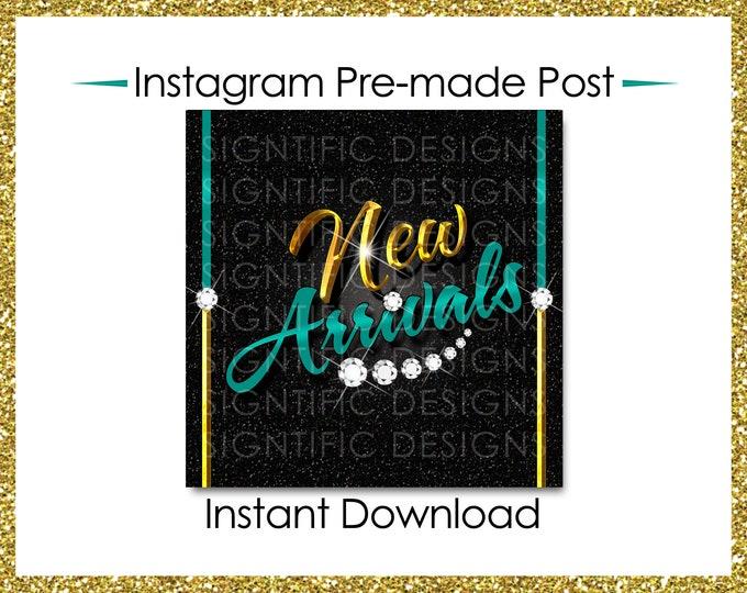 Instant Download, Hair Extensions Post, New Arrivals, Instagram Post, Hair Bundle Flyer, Gold Blue Flyer, Digital Flyer, Instagram Flyer
