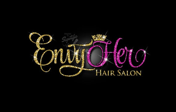 Glitter bling Hair Salon Logo, Custom Hair Salon Glitter Gold and Fuchsia Logo with Sparkles, Bling Gold Shimmer Logo, Gold, Pink Glitters