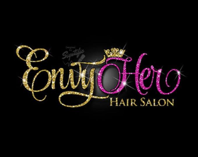 Glitter bling Hair Salon Logo, Custom Hair Salon Glitter Gold and Fuchsia Logo with Sparkles, Bling Gold Shimmer Logo, Gold, Pink Glitters