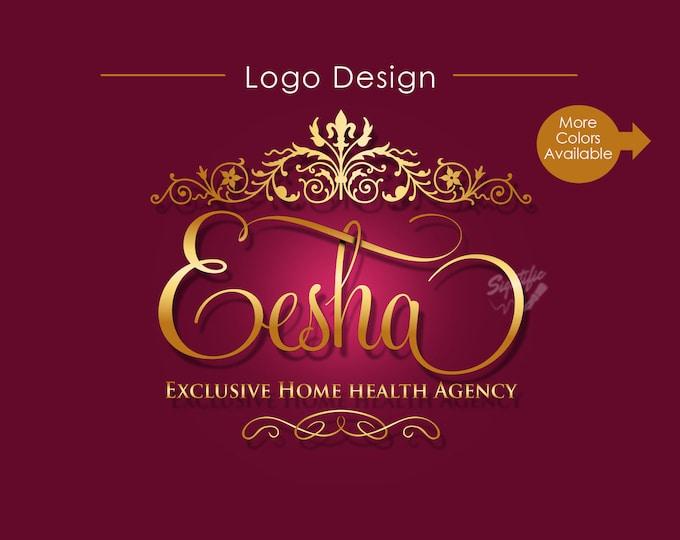 Small Business Logo, Ornament Logo, Vintage Logo, Scroll Logo, Logo, Logo Design, Logo Creation, Logo Maker, Cursive Logo Design, Brand Logo