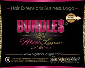 Hair Company Logo, Hair Extension Logo, Bundle Glitter Logo, Bling Crown Logo, Glitter Hair Logo, Hair Bundle Logo, Hair Wig Logo, Branding