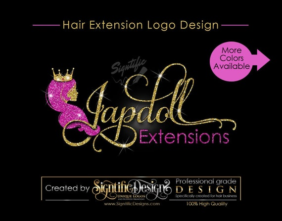 Hair Extensions Logo, Hair Logo Design, Hair Collection Logo, Gold and Pink Glitter Logo with Lady Silhouette and Crown, Bling Logo Design