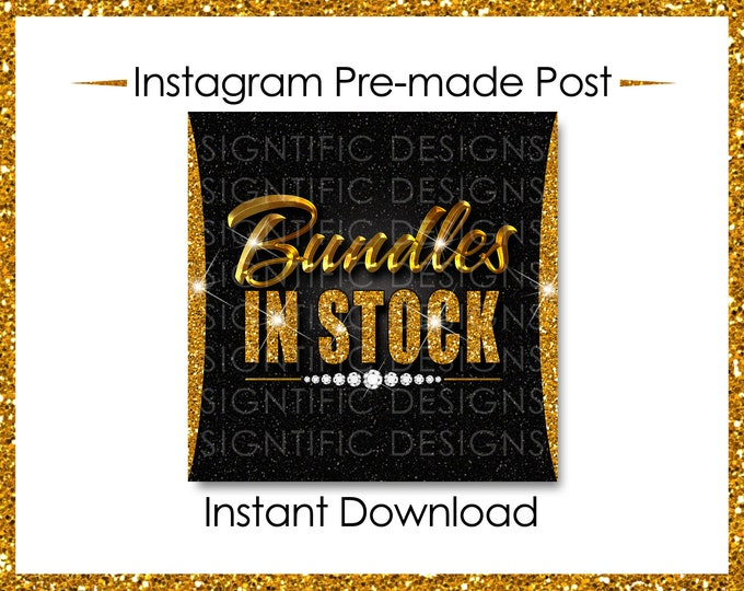 Instant Download, Hair Extensions Flyer, Bundles in Stock, Gold Glitter Gold, Instagram Post, Instagram Caption, Instagram Flyer, IG Post