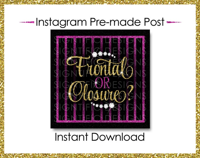 Instant Download, Frontal or Closure, Hair Business Flyer, Gold and Hot Pink, Instagram Post, Instagram Caption, Instagram Flyer, IG Post