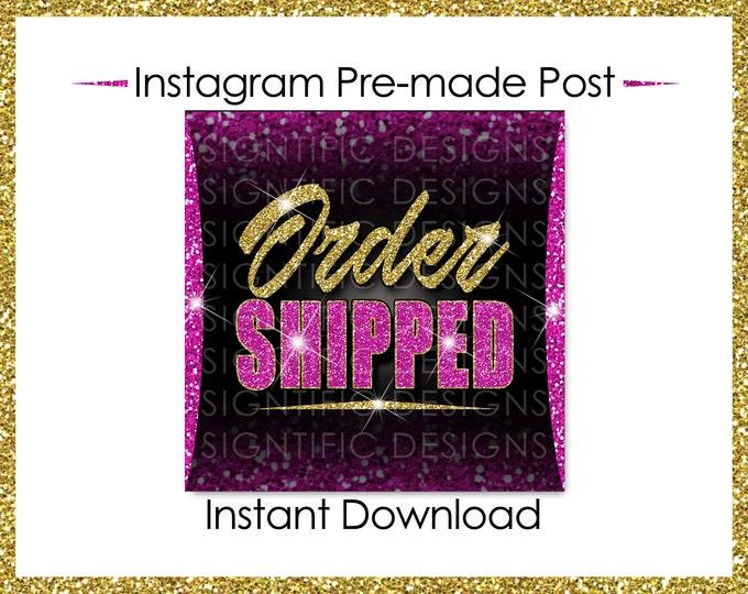 Instant Download, Order Shipped, Glitter Gold Hot Pink, Hair Extensions Flyer, Instagram Post, Digital Online Flyer, Social Media Post