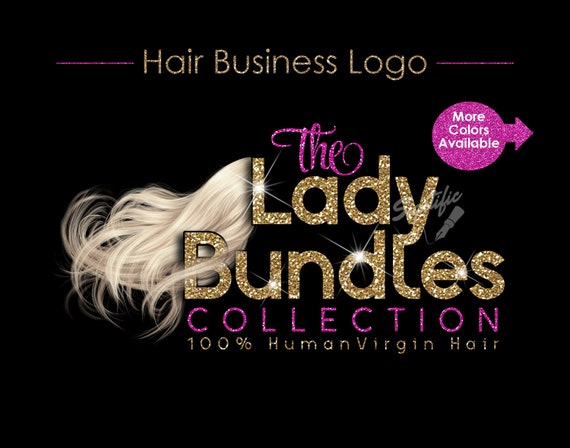 Hair Extensions Logo, Hair Bundle Business Logo, Pale Hair Logo, Blonde Hair Logo, Flowing Hair Logo, Glitter Hair Logo, Bundle Glitter Logo