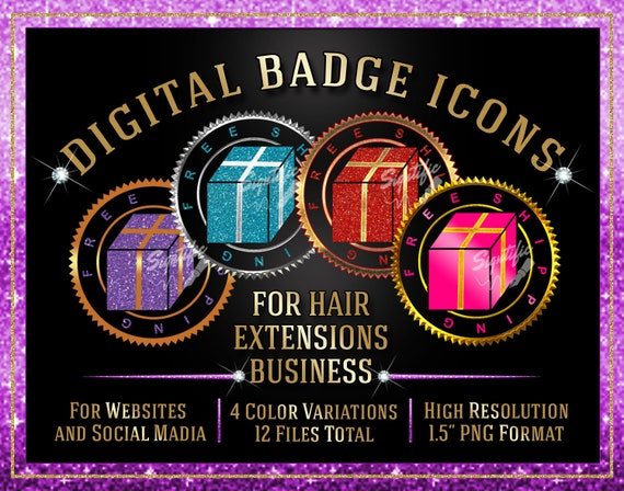 Hair Extensions Icons Instant Download, Free Shipping Icons, Website Badge, Social Media Icons, Round Badge, Hair Business Icon, Seal Badge