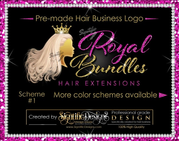 Premade Hair Logo, Hair Extensions Logo, Hair Business Logo, Flowing Pale Hair Logo, Virgin Hair Logo, Hair Bundle Logo, Glitter Bling Logo
