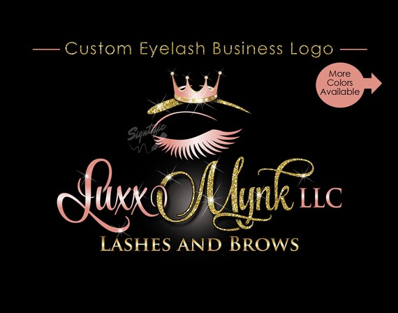 Eyelash Business Logo, Custom Eyelash Logo, Bling Crown Logo, Lashes Logo, Glitter Salon Logo, Business Logo, Bling Logo, Logo Custom Design