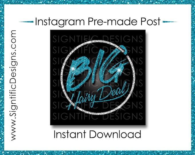 Instant Download, Big Hair Deal, Hair Extensions Flyer, Glitter Silver Teal, Instagram Post, Digital Flyer Post, Bundle Flyer, Hair Phrase