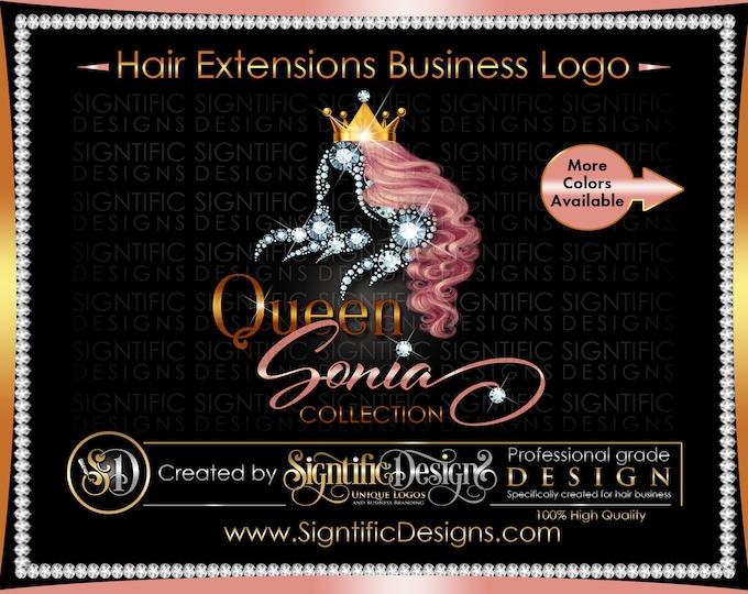 Hair Extensions Logo, Hair Bundle Logo, Diamond Hair Logo, Hair Business Logo, Branding Logo, Hair Packaging Logo, Crown Logo, Bling Logo