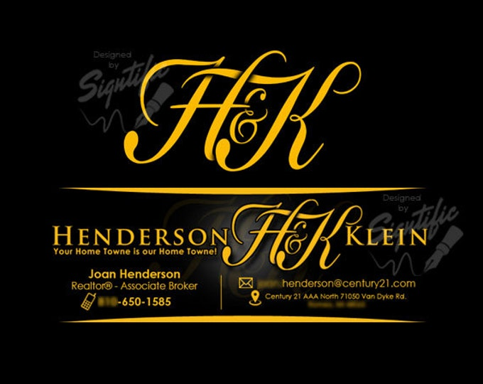 Real Estate Logo - E-mail Signature Design, Real Estate Initials Logo with Free Professional Email Signature in Matching Corporate Colors