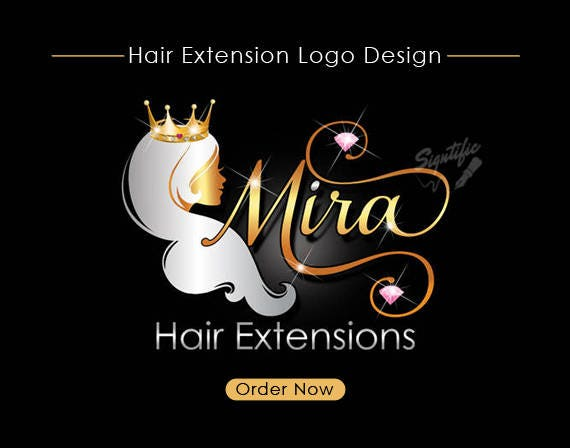 Hair Extensions Logo, Hair Collection Logo, Gold and silver Logo with Crown, Virgin Hair Blings Logo, Hair Salon Logo, Beauty Logo Design