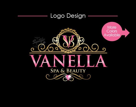 Custom Beauty and Spa Logo, Elegant Logo with vintage frame and diamond, Gold and Pink Logo, Product Label Design, Business Logo