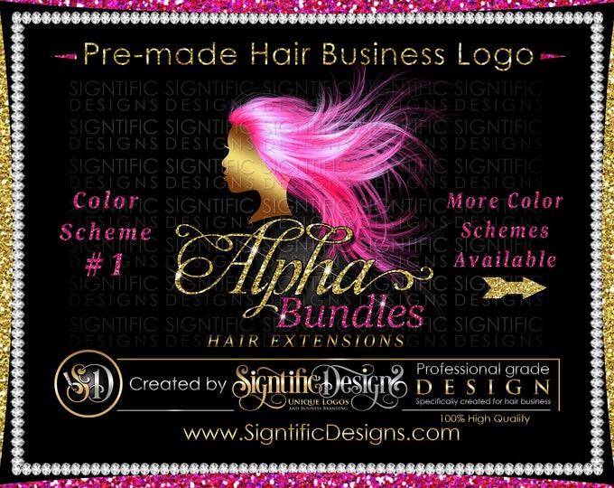 Hair Extensions Logo, Hair Business Logo, Flowing Hair Logo, Virgin Hair Logo, Hair Bundle Logo, Premade Hair Logo, Glitter Hair Logo Design
