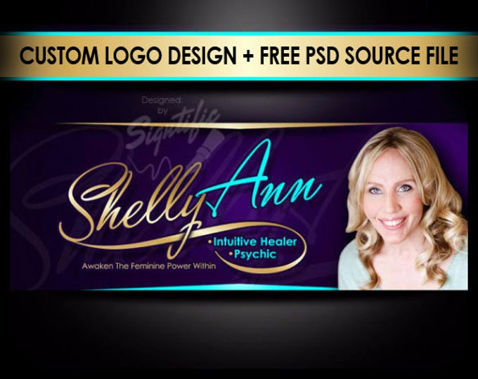 Professional e-mail signature plus FREE PSD source file, unique name logo with a photo, professional business logo branding in any colors