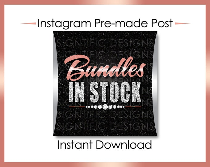 Instant Download, Bundles in Stock, Hair Extensions Flyer, Silver and Rose Gold, Instagram Post, Instagram Caption, Instagram Flyer, IG Post