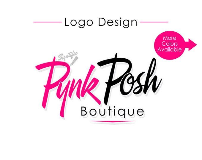 Custom logo design, pink and black boutique logo, logo for business card, clothing line closet logo, fashion text logo design, business logo