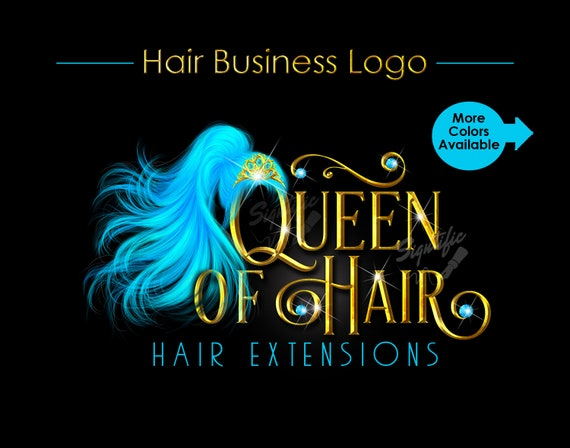 Hair Extensions Logo, Flowing Ponytail Logo, Teal Hair Logo, Hair Bundle Logo, Metallic Gold Logo, Hair Packaging Logo, Bling Logo Branding