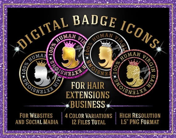 Hair Extensions Badge Icons Instant Download, 100% Human Virgin Hair Extensions Badge Icons, Website Badge, Social Media Icons, Quality Seal