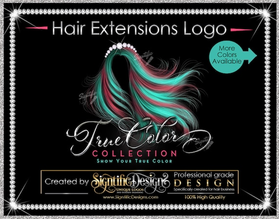 Hair Bundle Logo, Hair Extensions Logo, Virgin Hair Logo, Flowing Hair Logo, Multi Color Hair Logo, Bling Diamond Logo, Hair Collection Logo