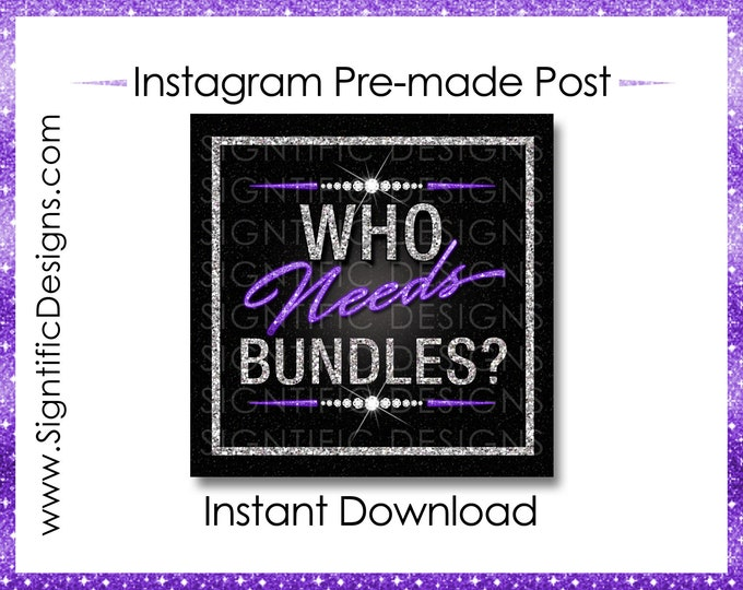 Instant Download, Who Needs Bundles, Hair Extensions Flyer, Glitter Silver Purple, Instagram Post, Digital Flyer Post, Bundle Flyer Post