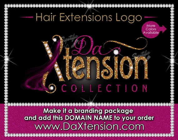 Hair Extensions Logo, Hair Glitter logo, Bundle Logo, Bling Hair Logo, Flying Hair Logo, Packaging Logo, Semi Custom Logo, Hair Stylist Logo