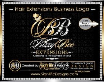 Hair Extension Logo, Hair Logo, Diamond Bling Logo, Hair Packaging Logo, Hair Brand, Bee Logo Design, Hair Bundle Logo, Virgin Hair Logo