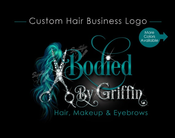 Hair Extensions Logo, Bling Scissors Logo, Hair Business Logo, Packaging Logo, Bling Logo, Name Signature Brand, Logo for Hair, Hair Brand
