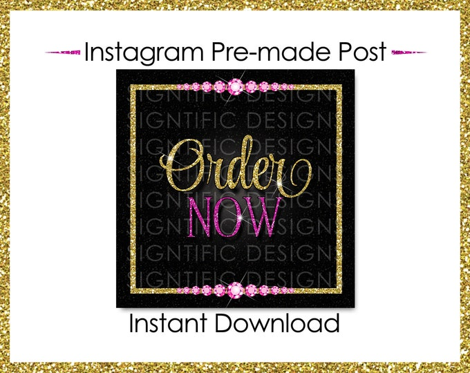 Instant Download, Order Now, Hair Extensions Flyer, Instagram Post, Glitter Gold Pink Flyer, Digital Online Flyer, Bundle Glitter Flyer Post