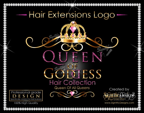 Hair Extensions Logo, Packaging Logo, Hair Bundle Logo, Glitter Hair Logo, Crown Logo, Hair Branding Logo, Virgin Hair Logo, Shimmer Logo