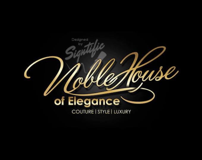 Custom logo design, elegant gold boutique logo, fashion signature logo, gold lettering on black background, fashion boutique logo design